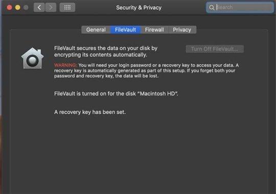Repair Data - FileVault
