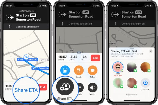 Share ETA button at the bottom of Maps in iOS 13 on iPhone