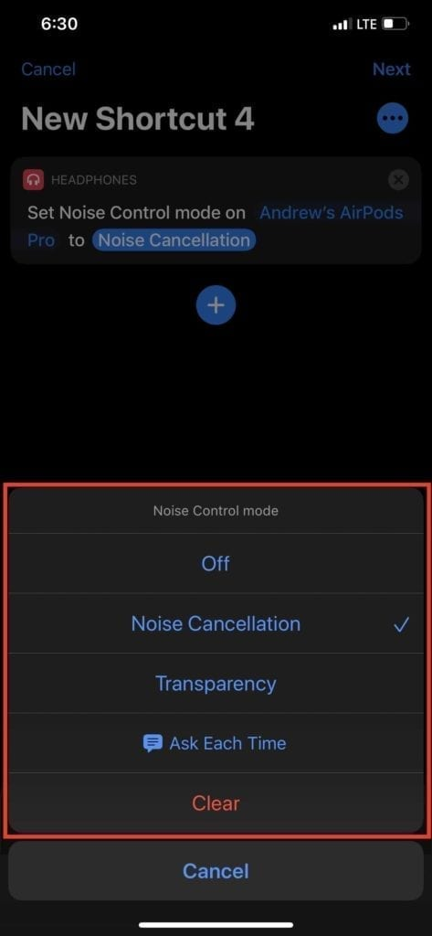 Shortcuts AirPods Pro Noise Control Mode 3