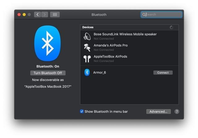 show bluetooth in Macs menu bar