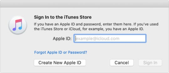 Sign in to iTunes Store window