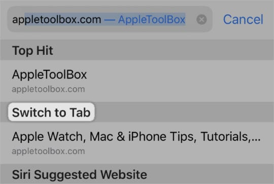 Switch to Tab button in Safari Smart Search
