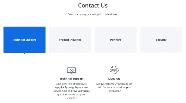Synology Contact Technical Support webpage