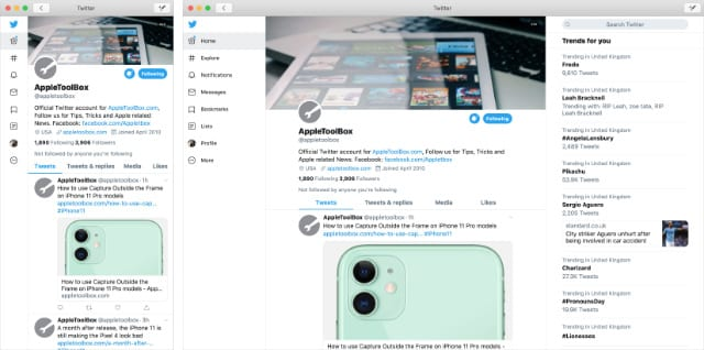 Twitter for Mac in two different window sizes