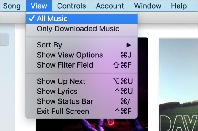 View All Music option on Mac