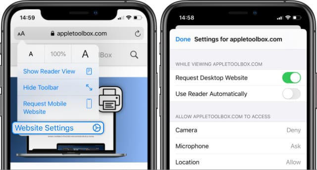 Website Settings feature in Safari on iOS 13