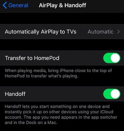 iOS 13.2 Features for Airplay and handoff