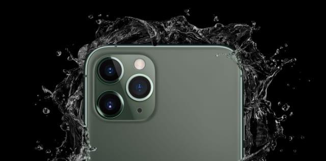 iPhone 11 Pro with splash effect around it