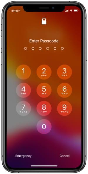 iPhone XS Passcode Screen