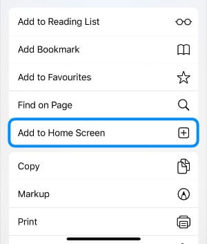 Add to Home Screen action from Safari Share Sheet on iPhone
