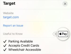Apple Maps showing Target accepts Apple Pay