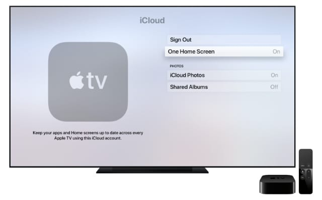 Apple TV One Home Screen settings
