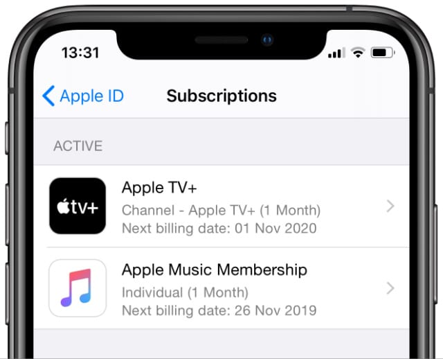 Apple subscriptions from iPhone settings