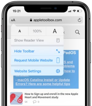 AppleToolBox website loaded in Safari on an iPhone with Website Settings