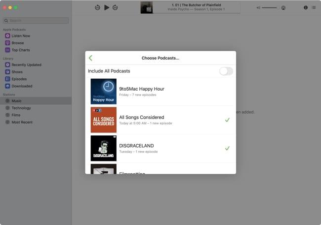 Choose Podcasts Mac
