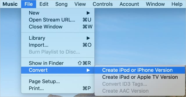 Create iPod or iPhone Version option from Music app menu