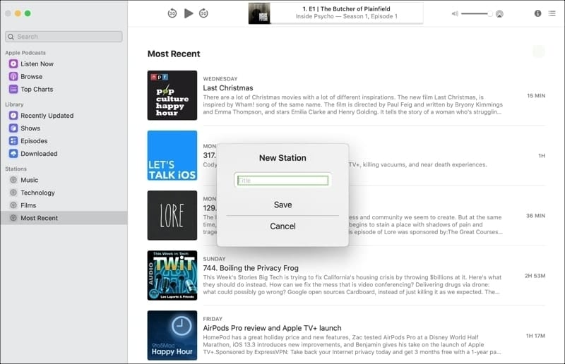 Create New Station Podcasts Mac