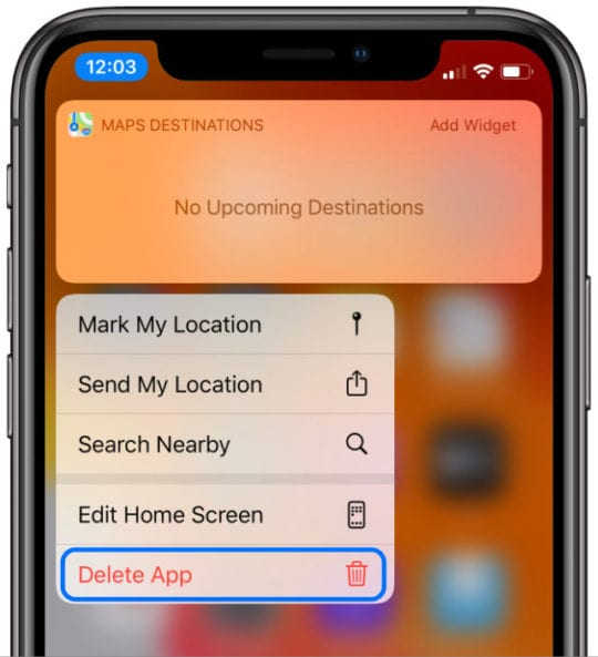 Delete app option in iOS 13