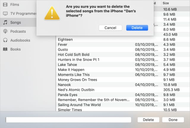 Delete songs option from iPhone in Finder Manage Storage window