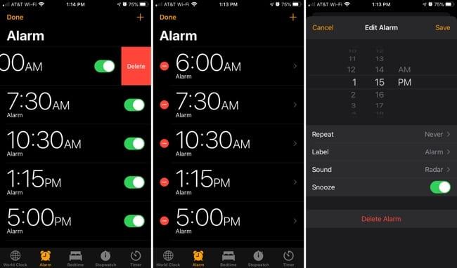 Delete individual alarms