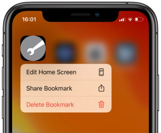 Edit Home Screen for website shortcut icons on iPhone