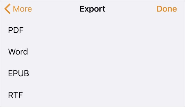 Export options from Pages app