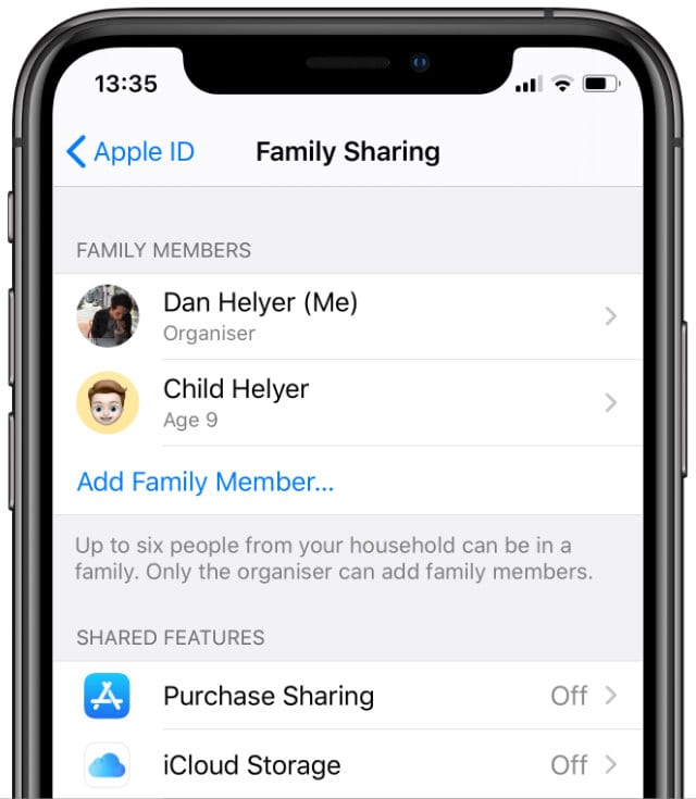 Family Sharing settings from iPhone with Purchase Sharing turned off