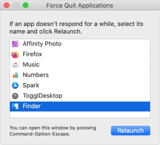 Force Quit Applications highlighting Finder with Relaunch button