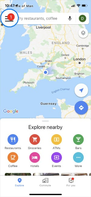 Google Maps menu button