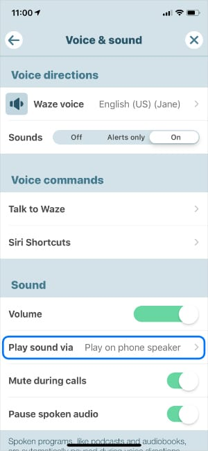 Play sound via phone speaker option in Waze settings