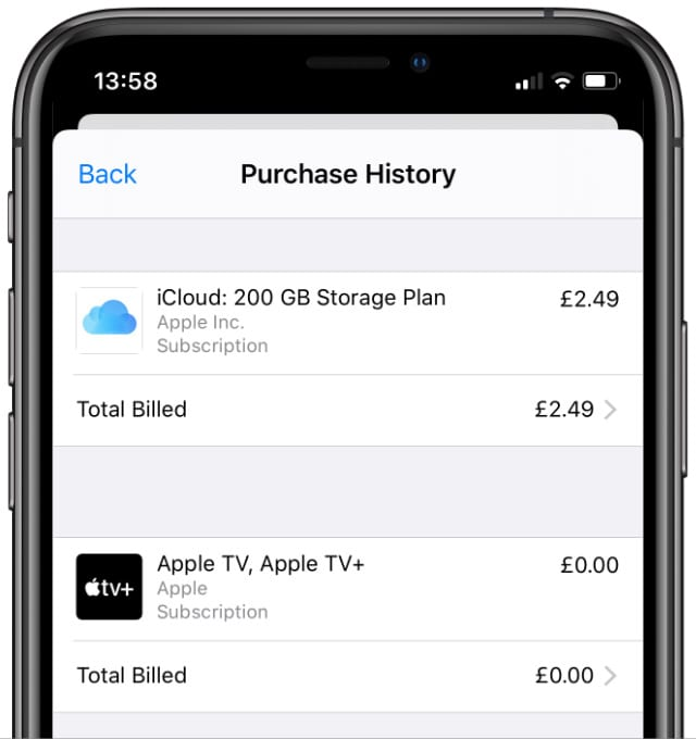 Purchase history on iPhone
