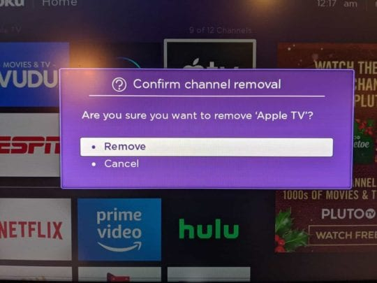 Remove Apple TV app for Roku 1