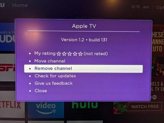 Remove Apple TV app for Roku 2