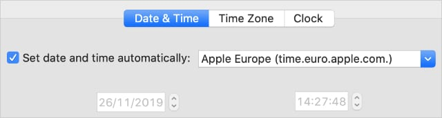 Set date and time automatically opion from Mac System Preferences