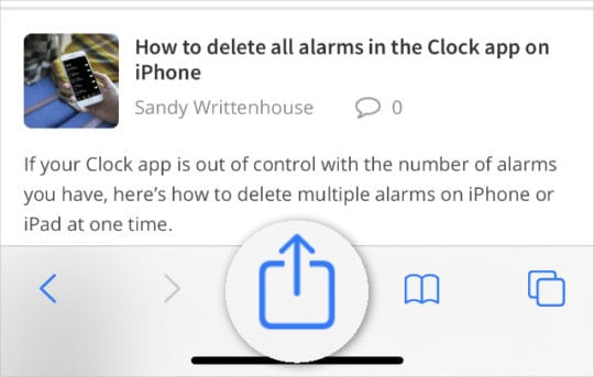 Share button from Safari on AppleToolBox home page