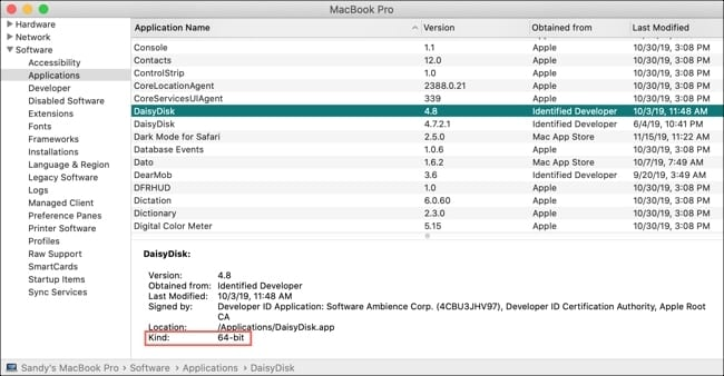 System Report on Mac