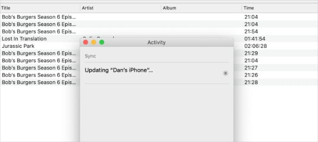 Updating activity window for iPhone from the Apple TV app on macOS Catalina
