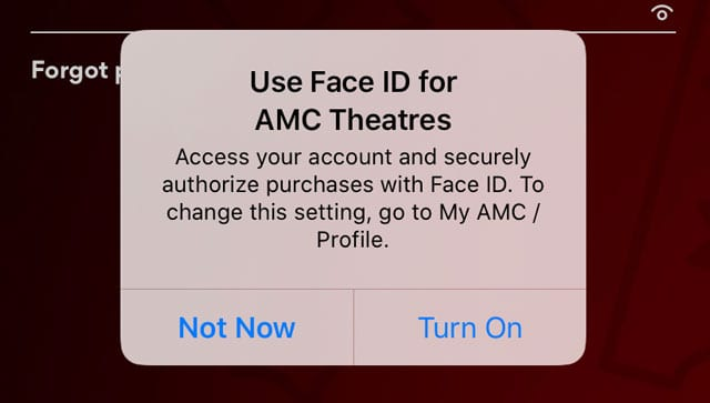 log in to an app using Face ID