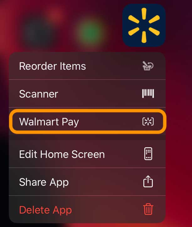 haptic touch walmart pay from quick action menu