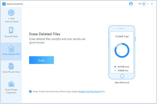 iMyFone Erase Deleted Files page