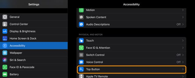 top button accessibility options