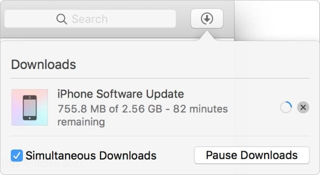 iPhone software update downloading in iTunes