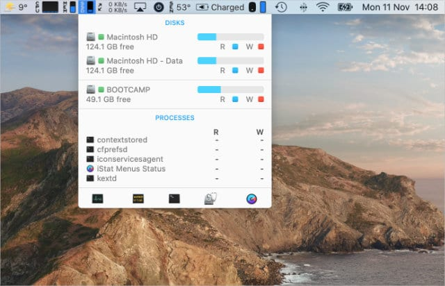 iStat Menus showing SSD information from menu bar