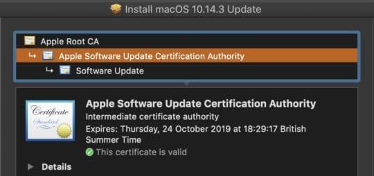 macOS Installer - Certificate