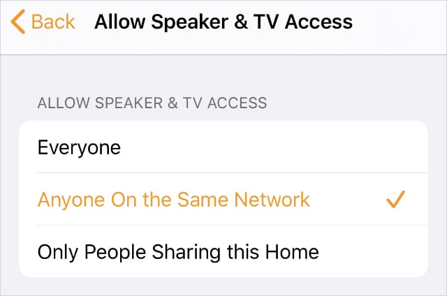 Allow TV & Speaker Access to Anyone On the Same Network Home app settings