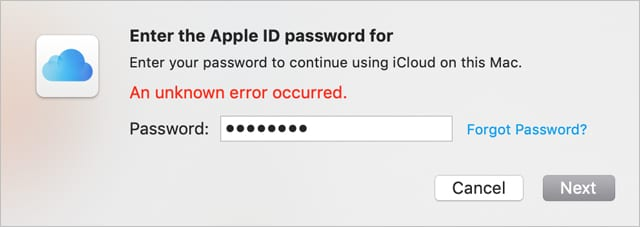 An unknown error occurred with your Apple ID message