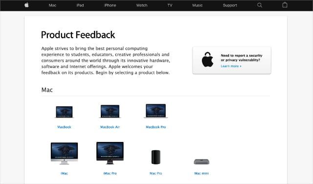 Apple Feedback website