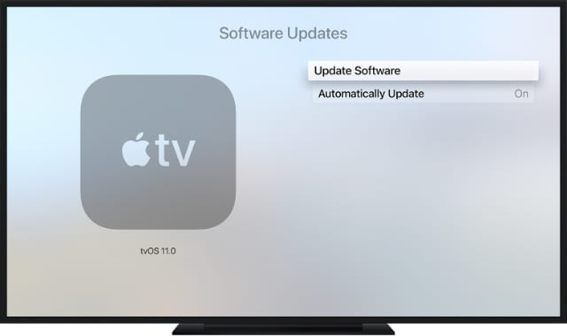Apple TV Software Update button
