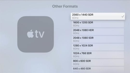 Apple TV Video Format Options