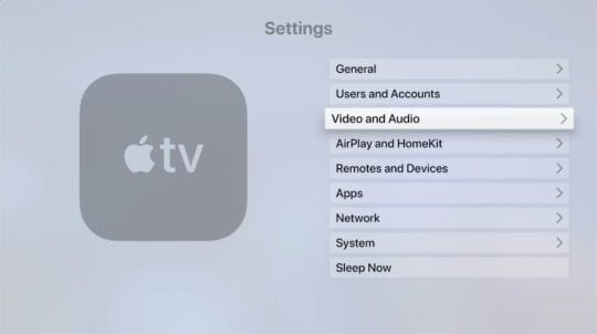 Apple TV Video and Audio Settings